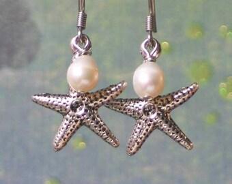 Silver Starfish Earrings, Beach Jewelry, Ocean