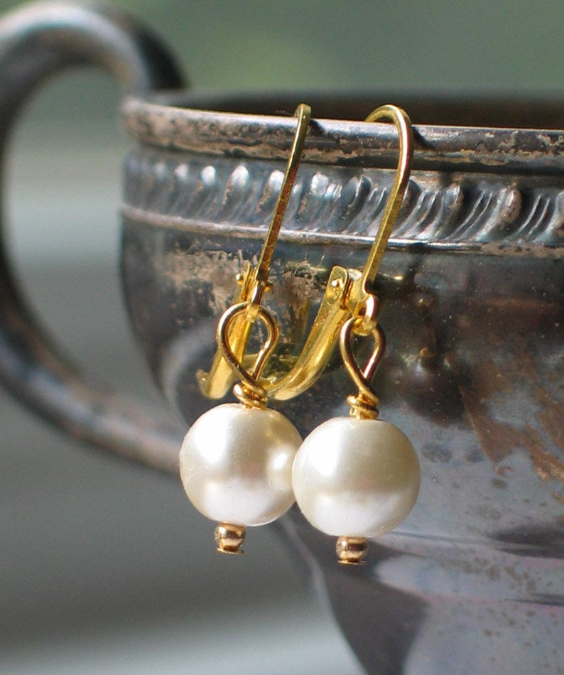 Gold and Ivory Glass pearl Earrings 18th century jewelry image 0