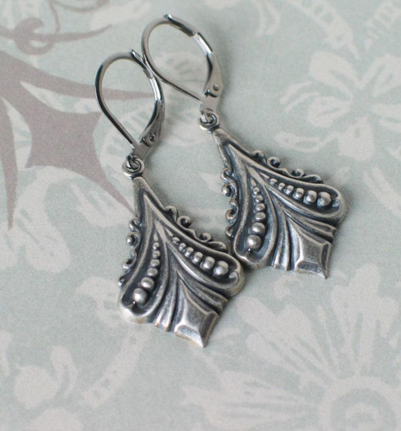 Art Deco Earrings Silver Plated 1920's Downton Abbey image 0