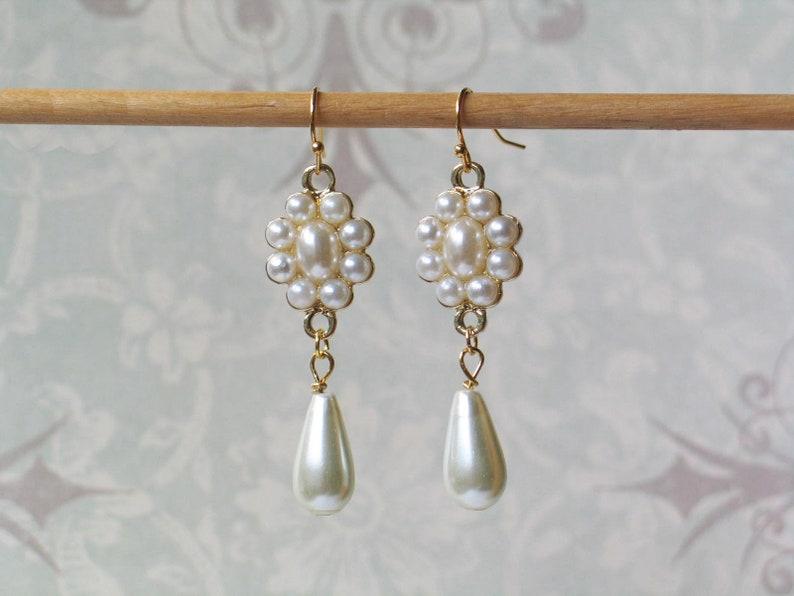 Pearl Teardrop Earrings 18th Century Jewelry Historical image 0