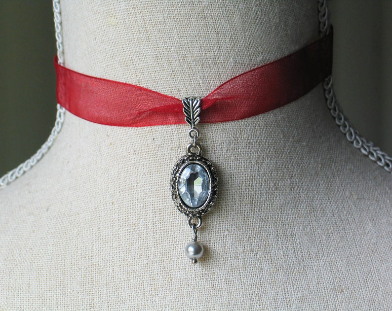 Sparkling Georgian Style Pendant with Red Ribbon Red Choker image 0