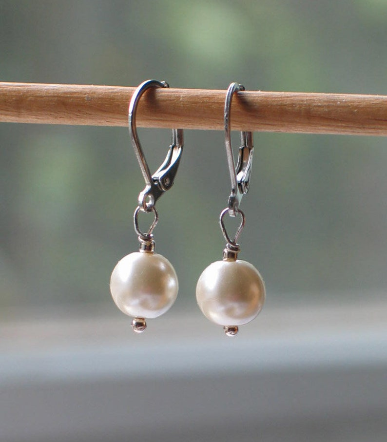 Historical jewelry Silver and Glass Ivory Pearl Earrings 19th century jewelry Georgian style jewelry 18th century jewelry