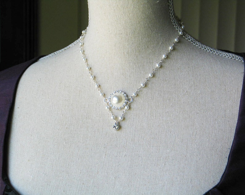Pearl and Rhinestone Necklace 17th and 18th century style image 0