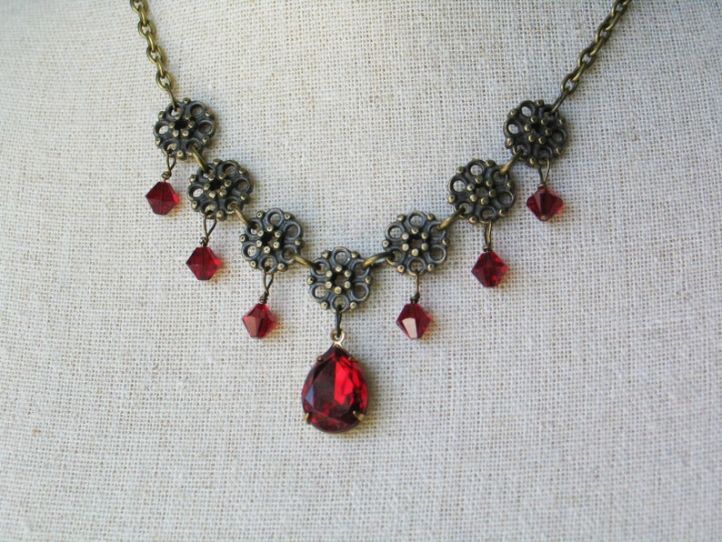 Flower Necklace with Red Swarovski stones image 0