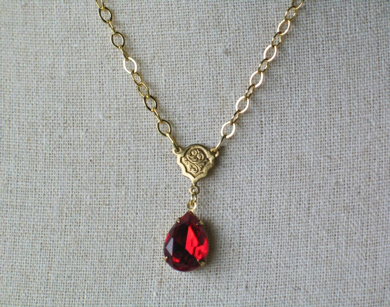 Ruby and Gold Necklace Outlander Inspired 18th century image 0