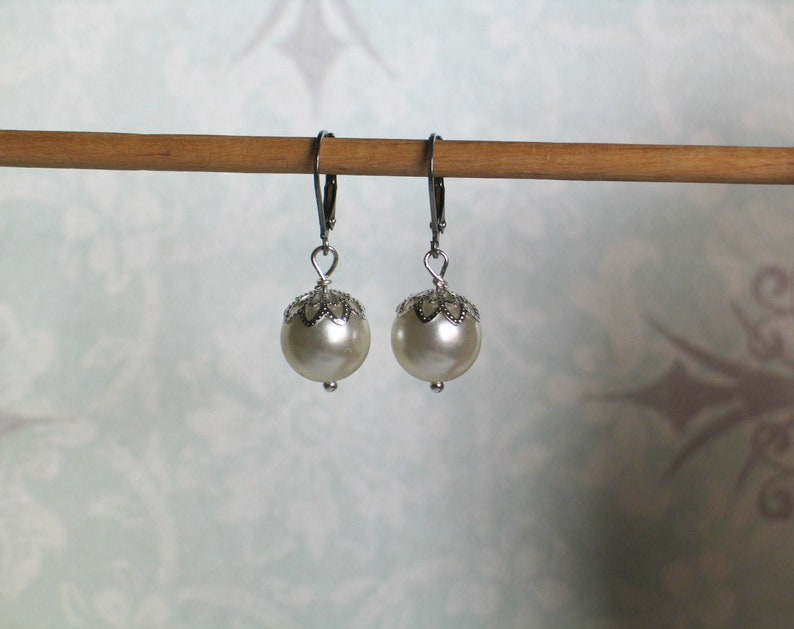 Vintage Ivory Pearl Earrings Georgian Jewelry 18th century image 0