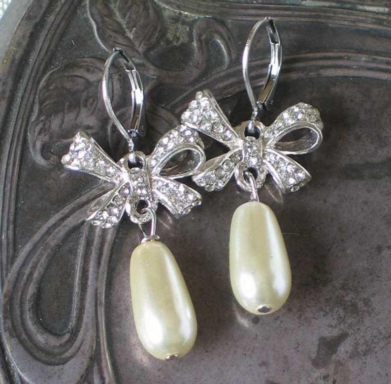 Rhinestone Bow Pearl Earrings Bow Earrings  18th century image 0
