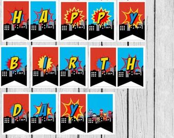 Superhero Birthday Banner, Superhero Banner, Happy Birthday Banner, Superhero Party decor, Superhero, Birthday Banner, Superhero party
