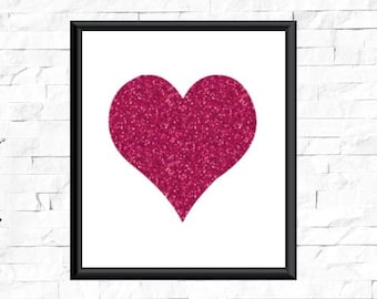 Heart Printable Glitter Home Decor Pink Wall Dcor Art Printables