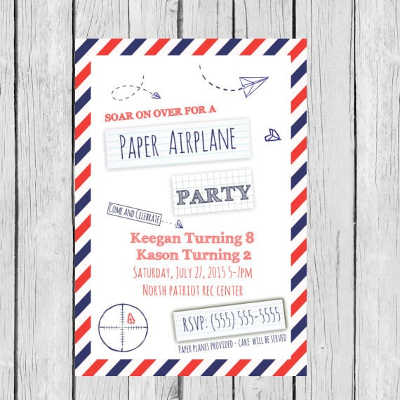 Paper Airplane Invitation Birthday