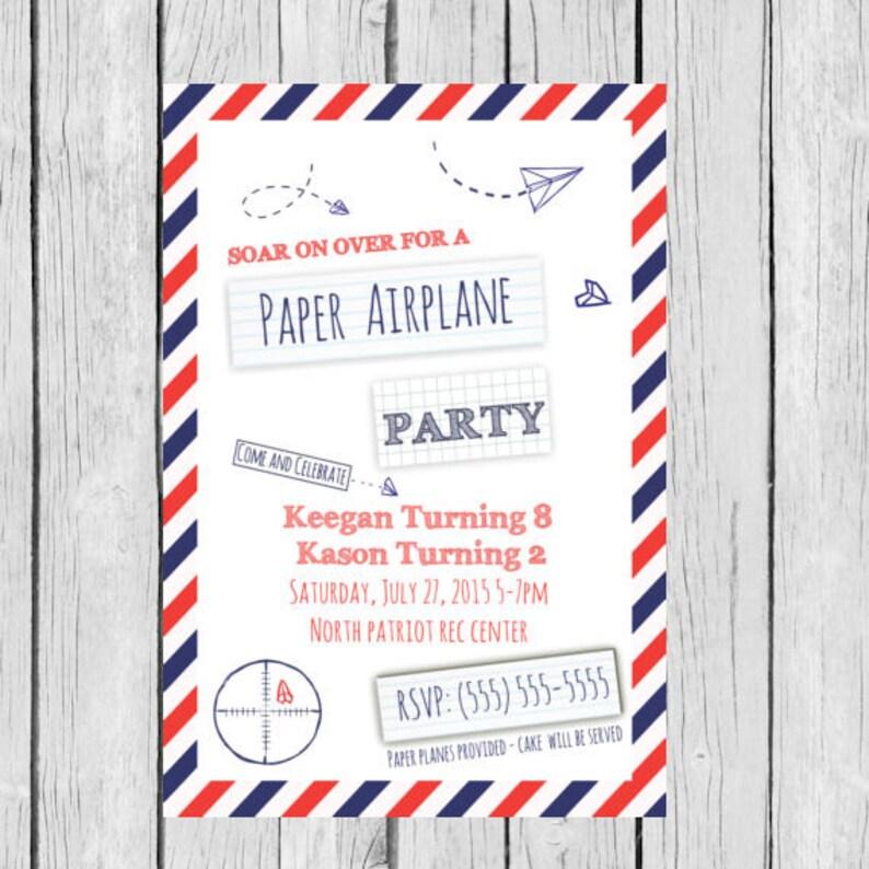 Paper Airplane Invitation Birthday