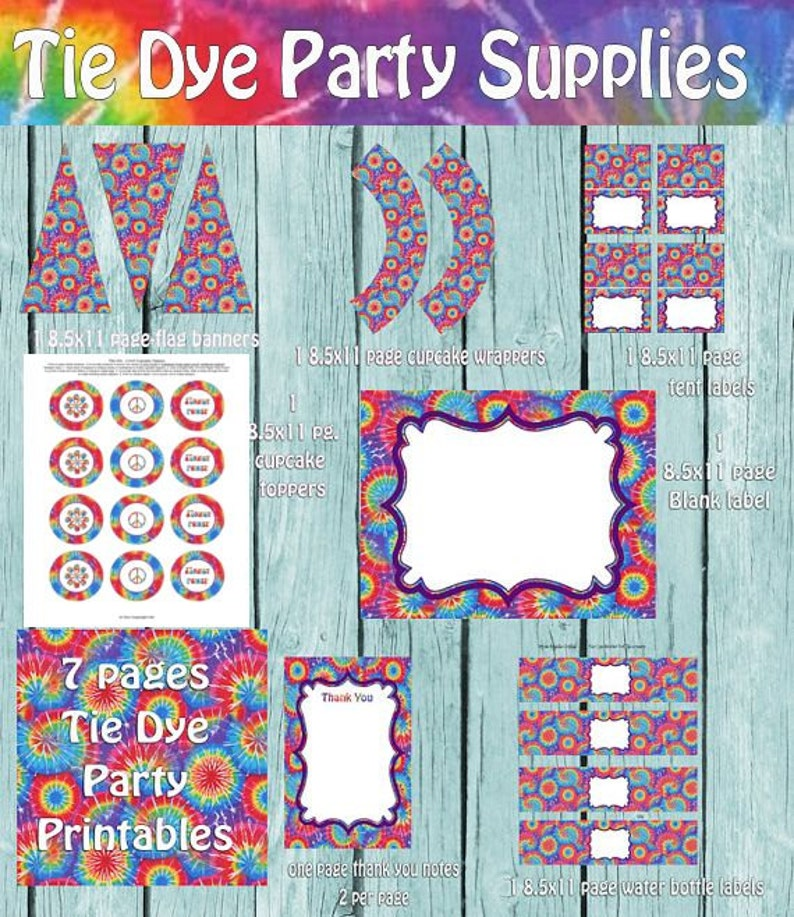 Tie Dye Party Package Printables Printable Supplies Birthday
