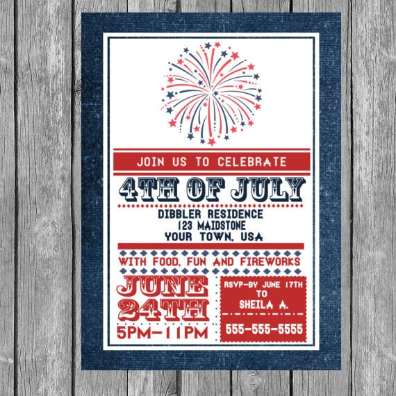 4th of july invitation 4th of july theme party 4th of july etsy