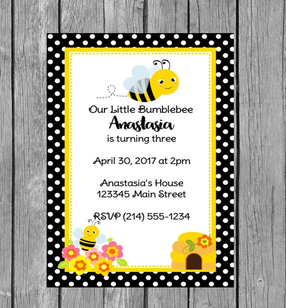 bee invitation bee invitations bee birthday invitation bee etsy
