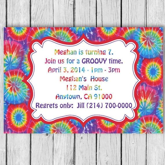 tie dye birthday invitation tie dye invitation tie dye etsy