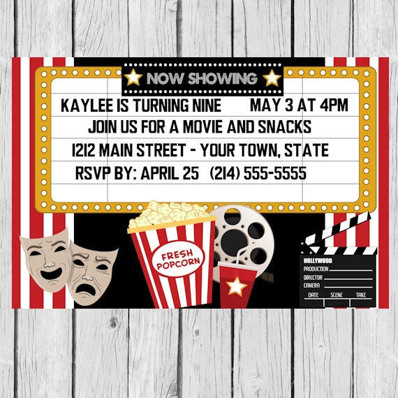 Oscars Party Invitation Movie Night Movie Party Movie Etsy