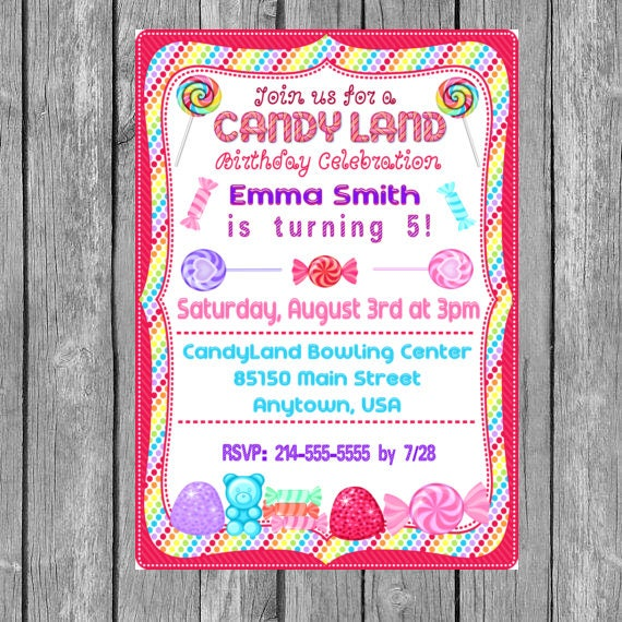 candy invitation candy birthday invitation candy birthday etsy