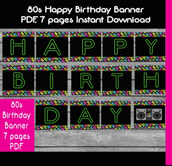 80s banner printable 80s banner 80s birthday banner happy etsy