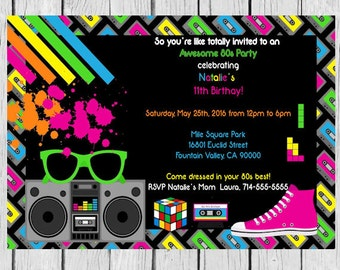 tetris invitation -tetris theme party, tetris birthday party, tetris invite, tetris invites, tetris invitations, tetris party invite, 80s