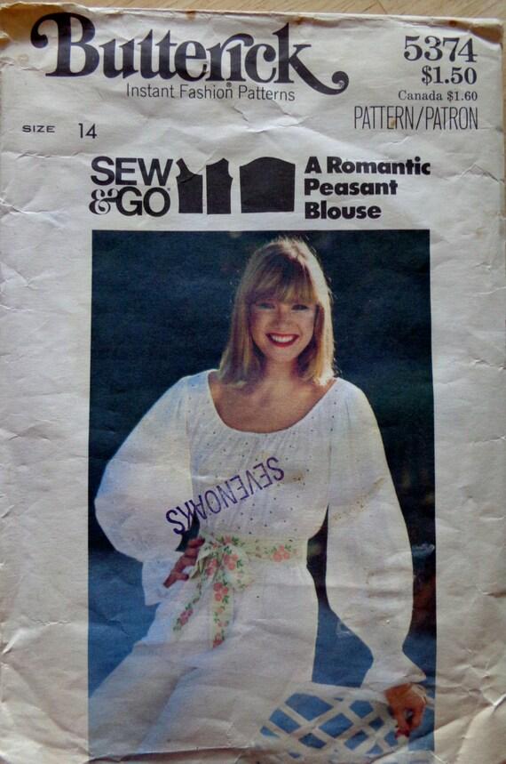 70er Jahre Gypsy Boho Bauer Bluse Schnittmuster Größe 14 Butt | Etsy