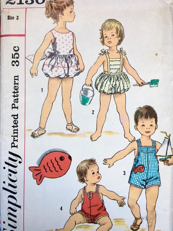 1950s Childrens Playsuit Sunsuit Sewing Pattern Simplicity   Etsy