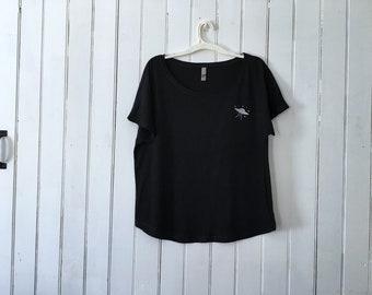 UFO Shirt / stars / space / area 51 / alien abduction / silver /