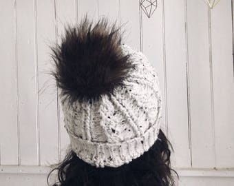 Speckled Cable Hat | Fur | PomPom | Crochet | Handmade | Tweed | Beanie
