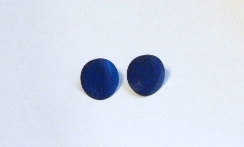 Awesome Blue Late 70's and Early 80s Round Pierced Stud image 0