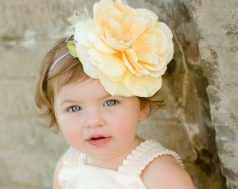 Rose-Silk Flower-Create Your Own Flower Girl Headband or Clip-Flower Girl Hair Accesories--Ivory, Yellow, White, Red or Pink-Headband
