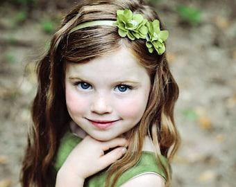 Green Headband--Woodland Nymph Headband or Clip--Flower Girls--Bridesmaids--Portraits