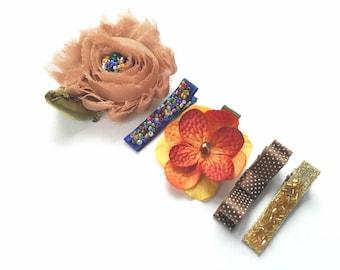 Fall Flower Hair Clips-Flower Girl Gift-Autumn Hair Piece-Autumn Weddings-Girls Birthday Gift-Thanksgiving Hair Clips