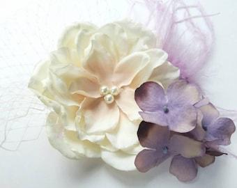 Ivory Flower Girl Fascinator-Flower Girl Hair Clip or Headband-Perfect for Weddings or Portraits