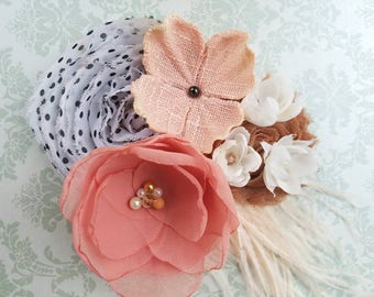 Flower Girl Headband or Hair Clip-Champagne, Coral and Blush Pink-Vintage Look-Perfect for Weddings or a Phot prop