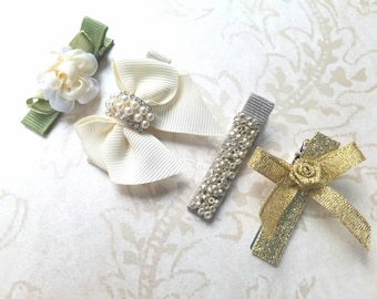 Flower Girl Hair Clip Set-The Perfect Gift-Ivory-Gold-Silver-Weddings-Holidays-Birthdays--Classic