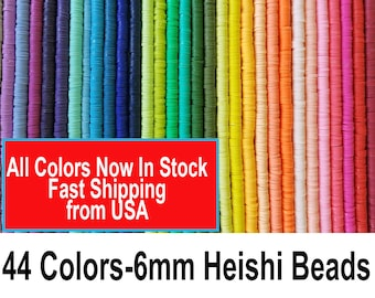 44 Colors IN STOCK 6mm Heishi Beads, Polymer Clay Beads, Y2K Heishi Bracelet Beads,African Vinyl Disc Beads, Beads, Polymer Clay Jewelry