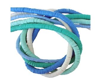 6mm Heishi Ocean Waves Assortment/ Multi Color Polymer Clay Heishi Beads/ African Vinyl Disc Beads/Wholesale Heishi/Heishi Color Assortments