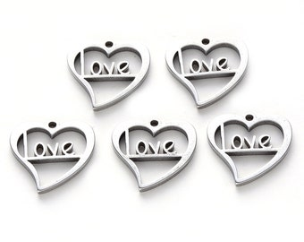 6 pcs Silver Love Heart Charms, Valentine's Day Charms, Heart Charms, Love Charms, Wedding Charms, DIY Valentines Jewelry, Mother's Day