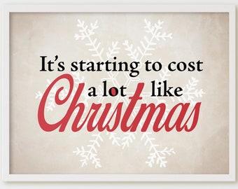 Printable Funny Christmas Decor and SVG. Cost a lot like Christmas. Holiday Sign, Winter Wall Art, Home Decor Poster, Farmhouse Christmas