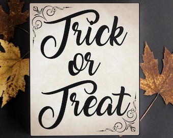 Halloween Season Canvas Sign. Trick or Treat. Vintage inspired Halloween wall decor for gift or home fall, autumn decor.