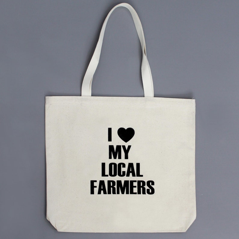 Large strong canvas market tote. I love my local farmers. image 0