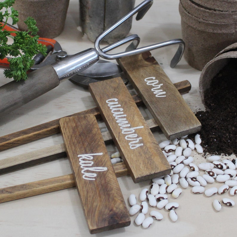 Veggie garden markers. Rustic country garden stakes for image 0