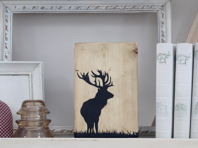 Elk silhouette wood wall hanging. Rustic animal home decor. image 0