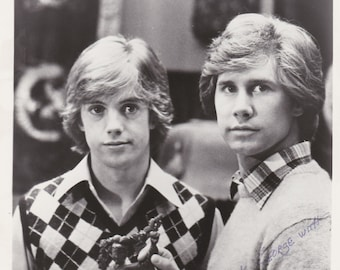 "HARDY BOYS Photo Shaun Cassidy & Parker Stevenson Vintage Black and White  8"" x 10"" Signed"