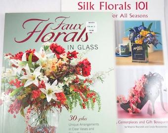 2 Silk Floral Arranging Books, Centerpieces, Wreaths, Faux Florals, Flower Arrangements in Clear Vases Glassware, All Occasions