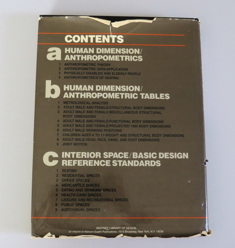 Human Dimension and Interior Space, Design Reference Standards, Panero and  Zelnik, Vintage Book 1979 Space Planning, Anthropometric Tables