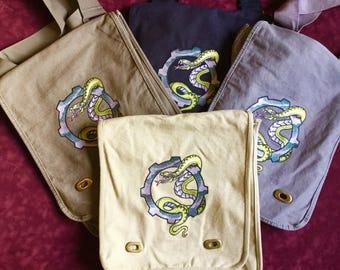 Steampunk Gear Snake Slytherin Canvas Messenger Bag