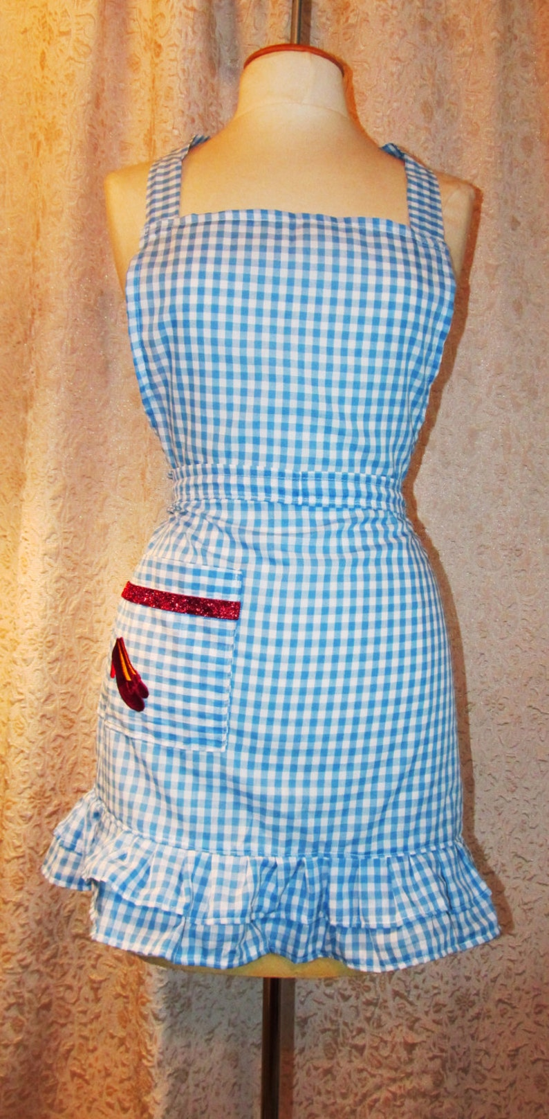 OOAK Fancy Double Ruffle Dorothy Blue Gingham Apron with embroidered Ruby Slippers on pocket