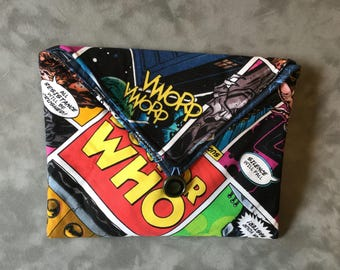 Doctor Who padded Clutch Bag - Perfect Travel case for cosmetics, Kindle, Nook, e-readers