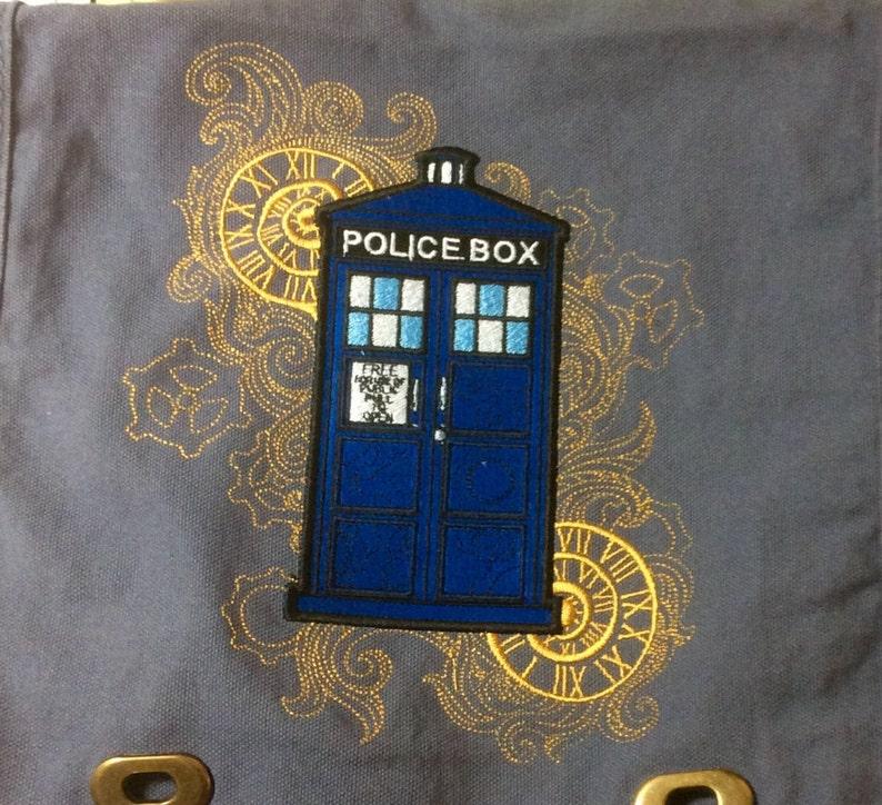 POLICE BOX Embroidered original Steampunk Messenger Bag
