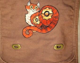 Steampunk Gear Cat  Canvas Messenger Bag